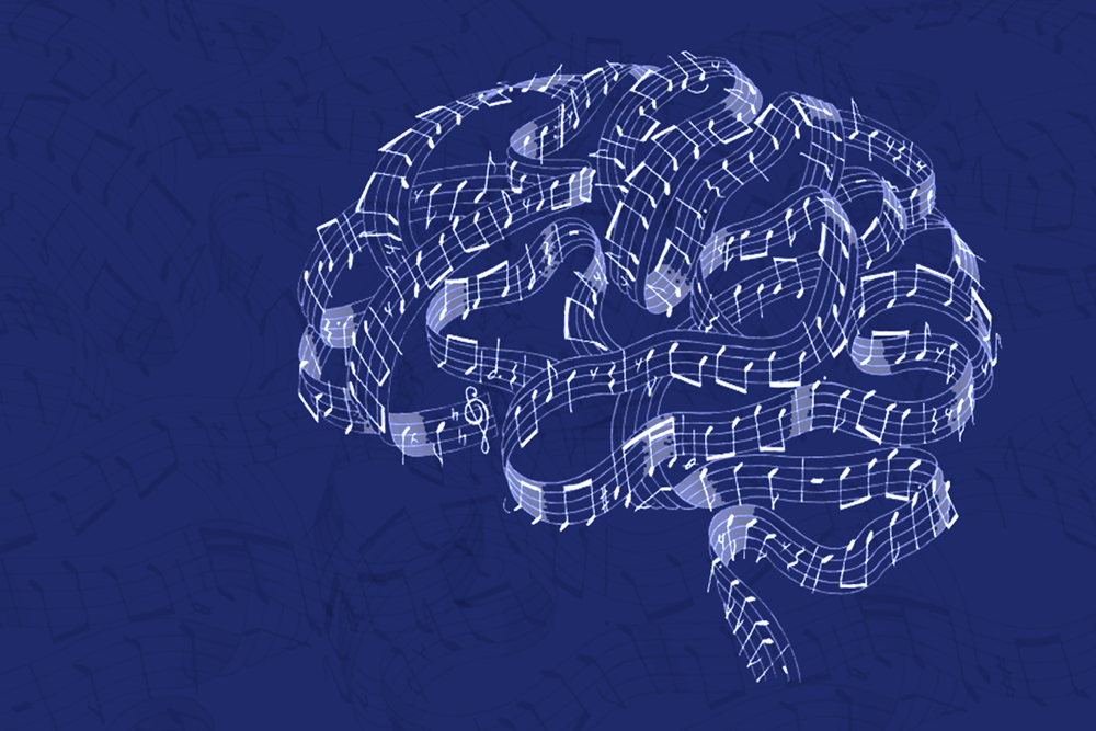 outline of brain made by music staff on dark blue background