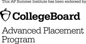 "Logo says ""This AP Summer Institute has been endorsed by the College Board Advanced Placement Program."""