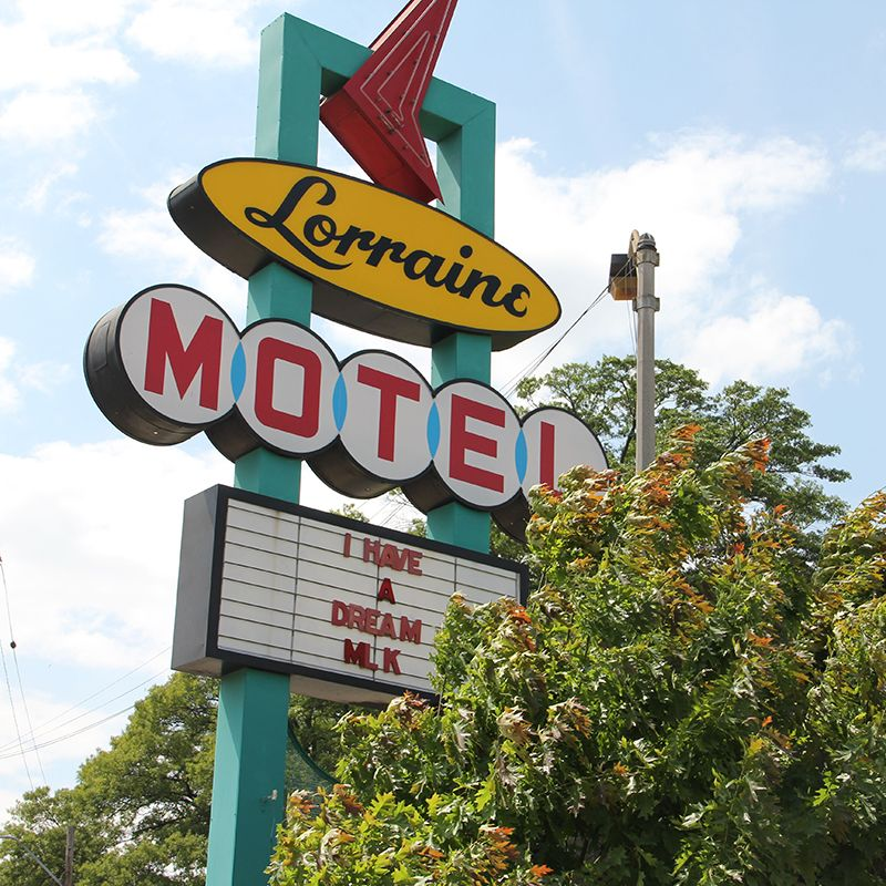 Photo of roadside sign for the Lorraine Motel in Memphis, where Dr. Martin Luther King was assassinated.
