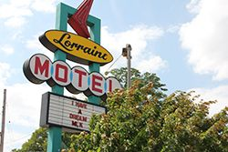 Roadside sign for the Lorraine Motel in Memphis, where Dr. Martin Luther King was assassinated.