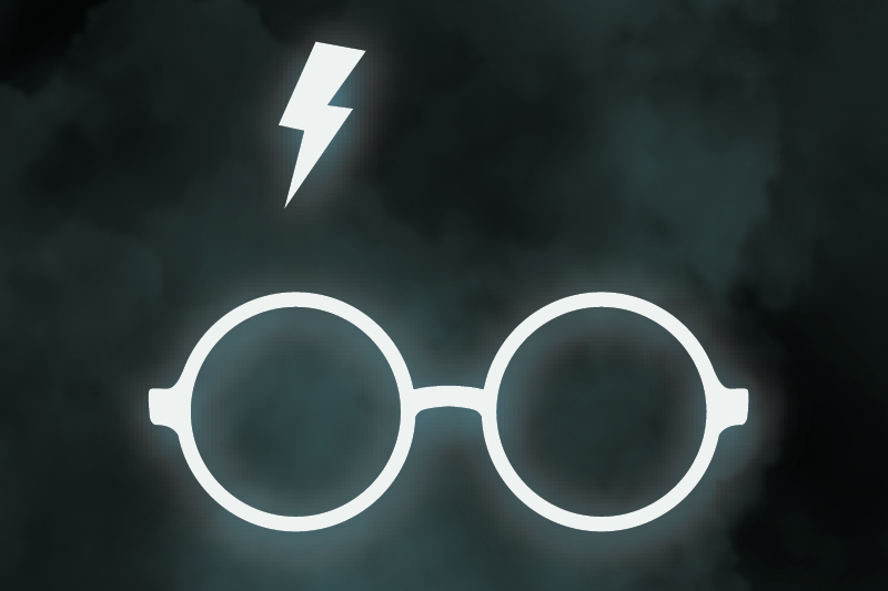 glasses and lightning bolt