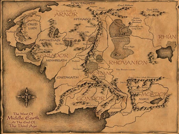 hand drawn map of Middle Earth