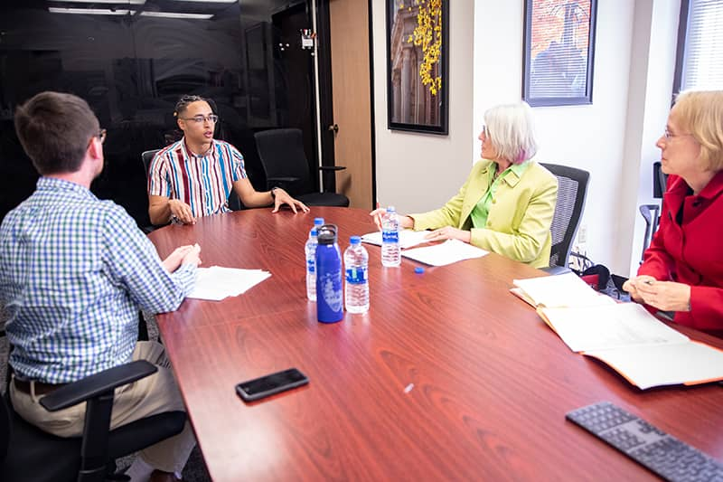 Student participates in mock interview