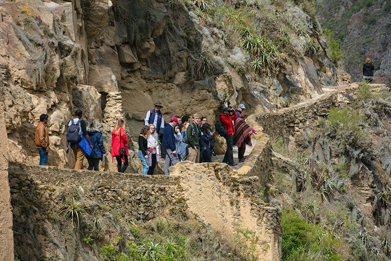 Students hike in Peru.