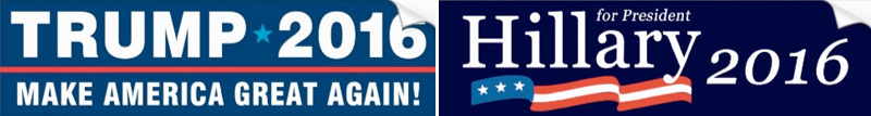bumper stickers for Donald Trump and Hillary Clinton