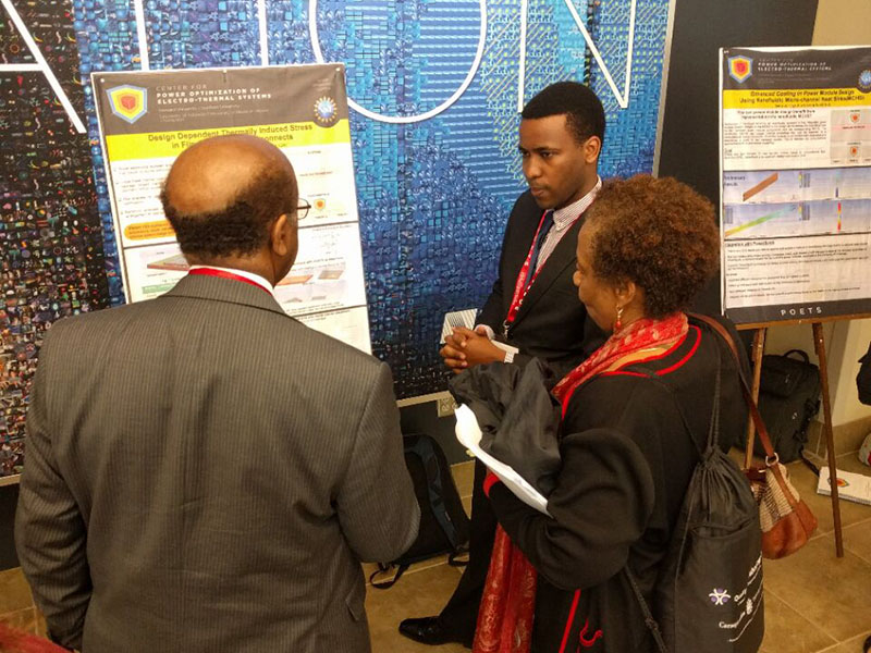 Ange Iradukanda presenting his mechanical engineering research at POETS Technical Conference and National Science Fund.