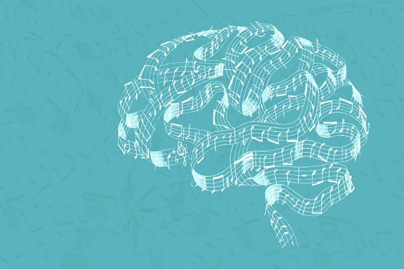 brain outlined with musical staff on teal background