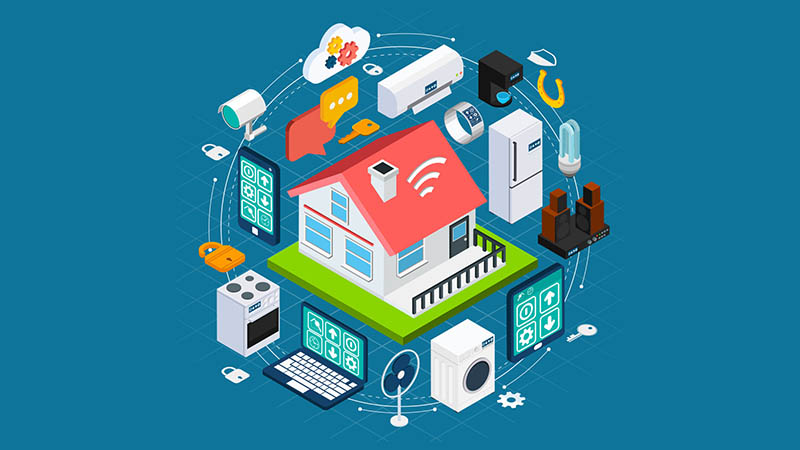 graphic of house surrounded by electronic devices
