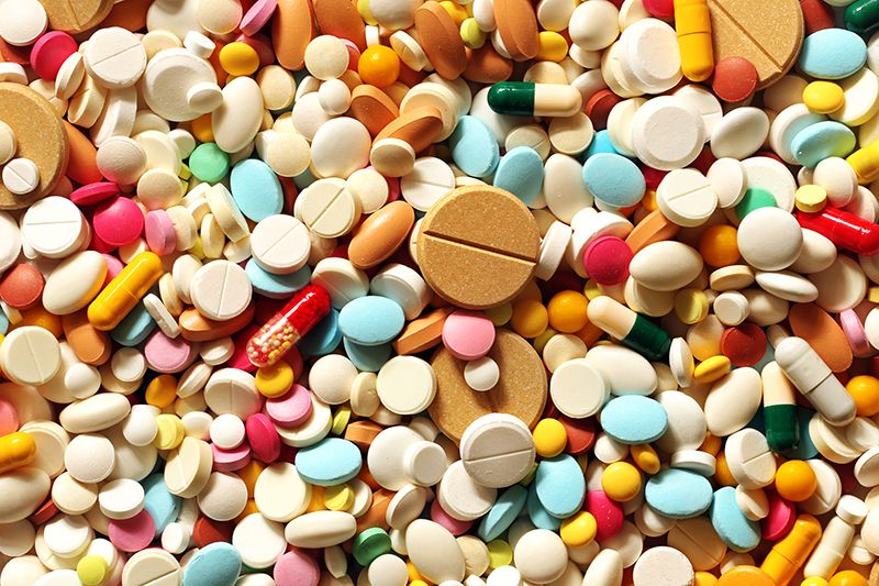 pills of various shapes and sizes