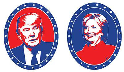 Star-spangled portraits of Donald Trump and Hillary Clinton